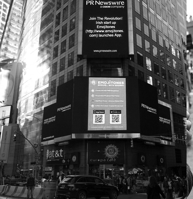 Emoji tones advertising in Times Square New York